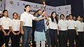 "Prakash Javadekar launching the world's largest digital national building initiative ""Smart India Hackathon 2017"" by handing over a torch to the technology students, in New Delhi.jpg"