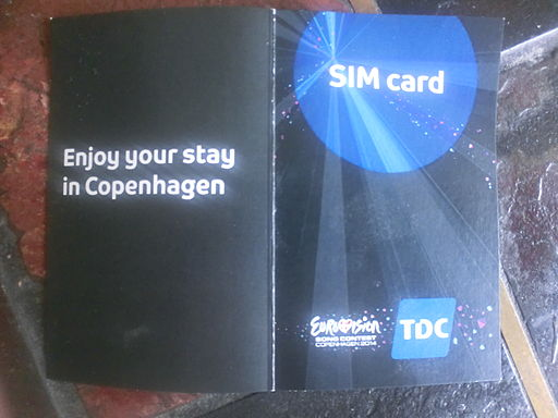 Prepaid mobile SIM card handed out by TDC during Eurovision Song Contest 2014 in Copenhagen