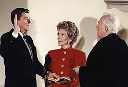 President Reagan being sworn in for second term during the private ceremony held at the White House 1985.jpg