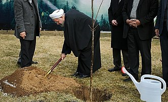 President of Iran, Hassan Rouhani, planting a tree on 2016 Arbor Day President Rouhani in Arbor Day 03.jpg