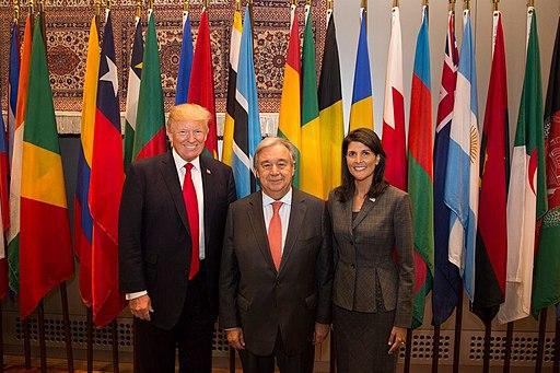 President Trump, Ambassador Haley, and UN Secretary General Guterres