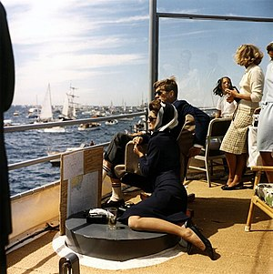 1962 America's Cup - President and Mrs. Kennedy view America's Cup race, 15 September 1962