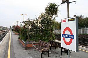 Preston Road tube station - Horticultural displays on the island platform at Preston Road