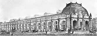 Edinburgh Princes Street railway station - drawing of 1890s station
