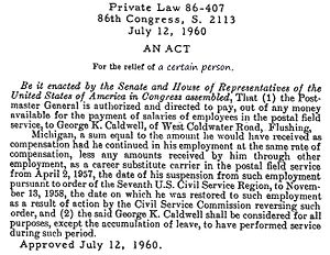 Private bill - Private Law 86-407