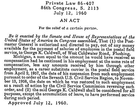 An Act of Congress from 1960. Private Law 86-407.jpg
