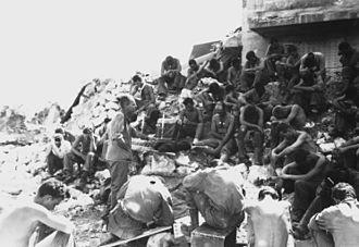 United States military chaplains - Protestant service on Peleliu, 1944