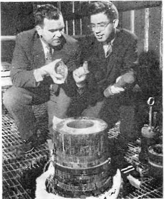 Hydrothermal synthesis - Synthetic quartz crystals produced in the autoclave shown in Western Electrics pilot hydrothermal quartz plant in 1959.