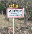 Prunet-et-Belpuig La Trinitat road sign.jpg