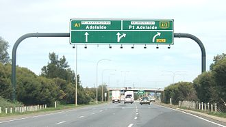 Highway 1 (South Australia) - Overhead sign showing Port Wakefield Road as State Route A1, in MawsonLakes