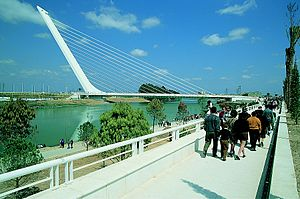 Puente del Alamillo - The Puente del Alamillo, viewed from the left (east) side of the Guadalquivir river.
