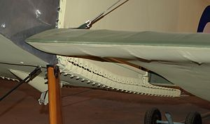 Aircraft fabric covering - Laced panels and stitched undercambered airfoil of a Sopwith Pup