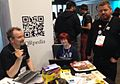 QR stand at Wikimania 2014.JPG