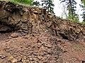 Quartz tholeiite basalt lava flows (flow B over flow A, Two Harbors Basalts, North Shore Volcanic Series, Mesoproterozoic, 1097-1098 Ma; Burlington Bay, Two Harbors, Minnesota, USA) 5 (22260867530).jpg