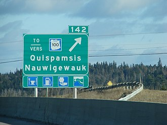 New Brunswick Route 1 - Exit 142 to Route 100, east of Saint John