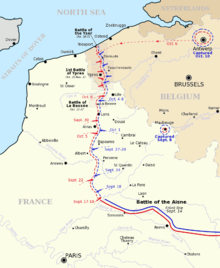 Map of northern France and Belgium showing the progress of battles in September to November 1914