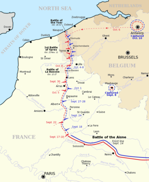 First Battle of the Aisne - Map of the Western Front and the Race to the Sea, 1914