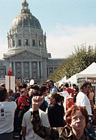 Raised Fist at antiwar demo