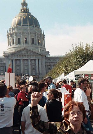 15 February 2003 anti-war protests - 60,000–200,000 protesters of various ages demonstrated in San Francisco, (accounts vary as to the total number present)