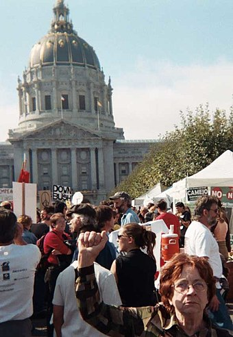 60,000-200,000 protesters of various ages demonstrated in San Francisco, 15 February 2003 Raised Fist at antiwar demo.jpg