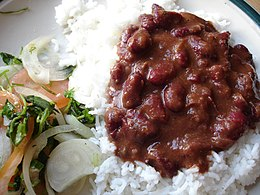 Rajma, kidney beans, served with chawal, rice.jpg