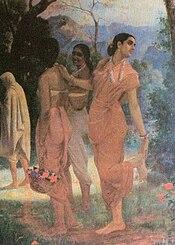Shakuntala stops to look back at Dushyanta, Raja Ravi Varma (1848-1906)