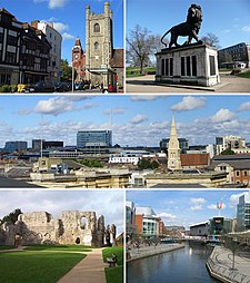The Oracle, Centro da cidade e St Laurence's Church, horizonte de Reading West, Abadia de Reading e o Festival de Reading