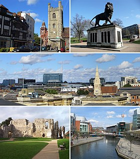 From top left: the Town Hall and St Laurence's Church, the Maiwand Lion, the Town Centre skyline from the Royal Berkshire Hospital, Reading Abbey and The Oracle