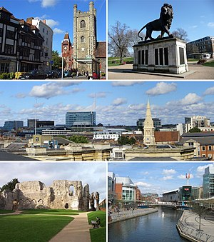 From top left: Reading's medieval Market Place with Town Hall and 11th century St Laurence's Church, the Maiwand Lion, the Town Centre skyline from the Royal Berkshire Hospital, the 12th Century Reading Abbey ruins, The Oracle shopping centre and River Kennet
