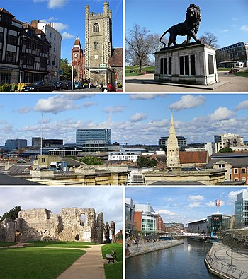 From top left: Reading's historic Market Place with Town Hall and St Laurence's Church, the Maiwand Lion, the Town Centre skyline from the Royal Berkshire Hospital, Reading Abbey, The Oracle shopping centre and River Kennet