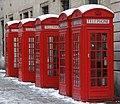 Red telephone boxes, Covent Garden, December 2010.jpg