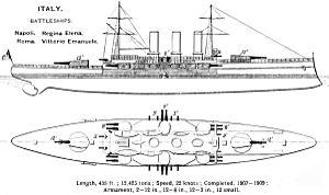 Regina Elena-class battleship - Image: Regina Elena class diagrams Brasseys 1912