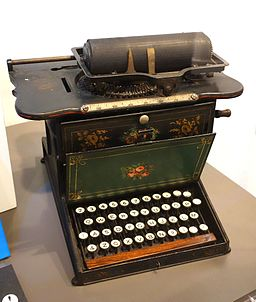 Remington No. 1 typewriter, made by Remington & Songs, Ilion, NY, 1873-1878, the first Sholes & Glidden model typewriter made by Remington - Wisconsin Historical Museum - DSC02806