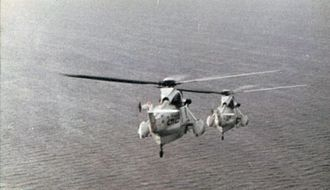"Raid on Pebble Island - Argentine ""Sea King"" helicopters departing to rescue the troops at Pebble Island, June 1982"