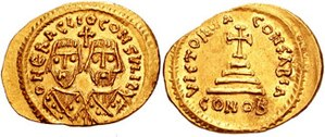 Byzantine Senate - Gold solidus of the two Heraclii in consular robes, struck during their revolt against Phocas in 608