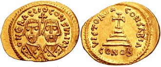 Heraclius - Gold solidus of Heraclius and his father in consular robes, struck during their revolt against Phocas