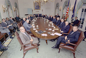Presidency of Richard Nixon - President Nixon's cabinet in 1971.