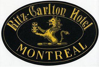 Ritz-Carlton Montreal - Image: Ritz Carlton Hotel, Montreal, Luggage Label