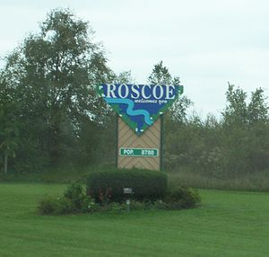 Roscoe, Illinois - Welcome sign on Illinois Route 251