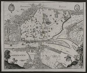 Timeline of Rouen - Map of Rouen, 1657