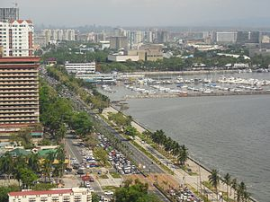 Roxas Boulevard - Roxas Boulevard facing south, showing the Manila Yacht Club and the Cultural Center of the Philippines Complex.
