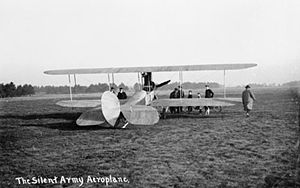 Royal Aircraft Factory B.E.2 - B.E.1., originally captioned 'The Silent Army Aeroplane'. Note radiator between cabane struts.
