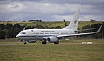 Royal Australian Air Force (A36-002) Boeing 737-7DF BBJ taking off on the main runway at the Canberra Airport (1).jpg