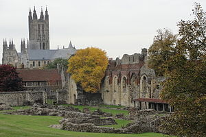 St Augustine's College, Canterbury - Ruins of St. Augustine's Abbey with a college building in the mid-background and Canterbury Cathedral in the far-background.