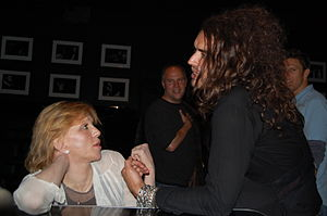 Russell Brand - Brand speaking with Courtney Love in Los Angeles, 2008