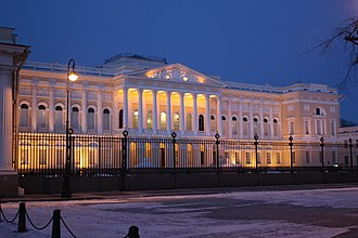 Russian Museum - Entrance of the old Mikhailovsky Palace, guarded by two Medici lions.