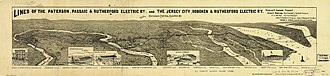 Jersey City, Hoboken and Rutherford Electric Railway - Panoramic map showing the rail system.