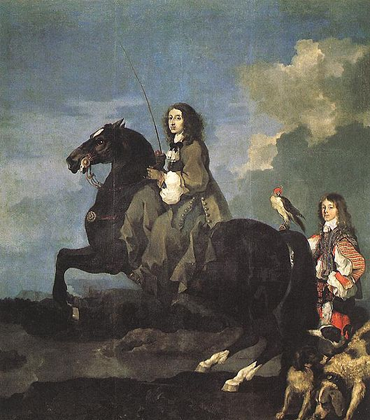 Bild: Wikipedia; Queen Christina of Sweden on Horseback, by Sébastien Bourdon (1653). Oil on canvas, 383 x 291 cm. Museo del Prado, Madrid