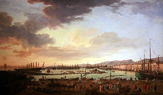 Levant Fleet - General view of the port of Toulon in the middle of the 18th century.