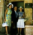 S. L. Shneiderman with wife Eileen Szymin-Shneiderman & daughter Helen Sarid entering Israeli president's office, 1960s cropped.jpg